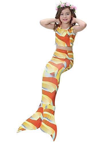 halpa Cosplay ja rooliasut-The Little Mermaid Aqua Princess Hameet Lasten Tyttöjen Halloween Halloween Festivaali / loma Polyesteri Punainen / Sininen / Fuksia Karnevaalipuvut Merenneito