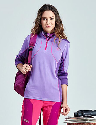 cheap Softshell, Fleece & Hiking Jackets-Women's Solid Color Hiking Fleece Jacket Outdoor Spring Winter Windproof Fast Dry Quick Dry Top Single Slider Hiking Camping Running Fuchsia / Sky Blue / Violet