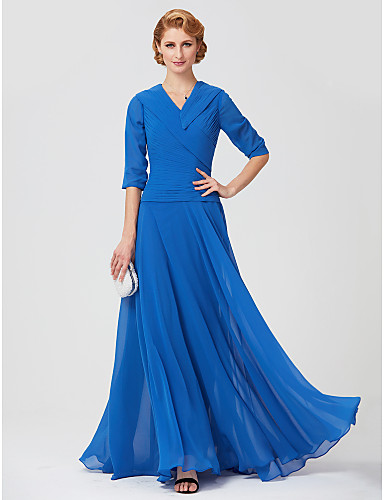 Sheath / Column V Neck Ankle Length Jersey Mother of the Bride Dress with Ruched Side Draping by LAN TING BRIDE®