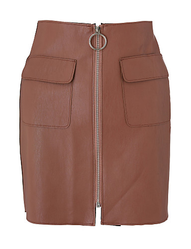 Damskie Moda miejska Bodycon Spódnice Solidne kolory Rozcięcie