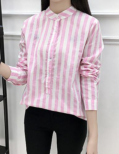 Koszula Damskie Vintage Stójka Prążki Bawełna