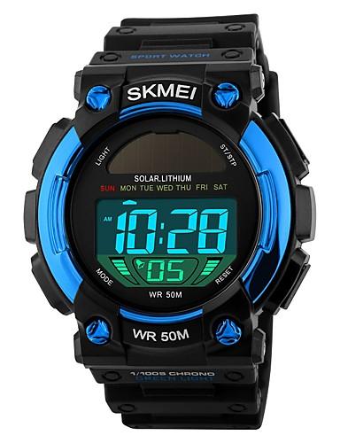 SKMEI בגדי ריקוד גברים שעוני ספורט דיגיטלי 50 m עמיד במים לוח שנה שעון עצר PU להקה דיגיטלי פאר יום יומי אופנתי שחור - שחור אדום כחול / זוהר בחושך