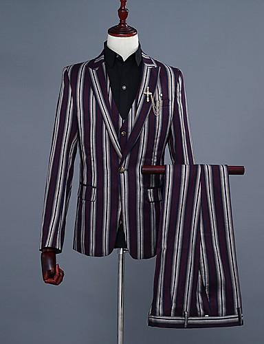 פסים דש קלאסי רזה עסקים מקרית חליפות-בגדי ריקוד גברים / שרוול ארוך