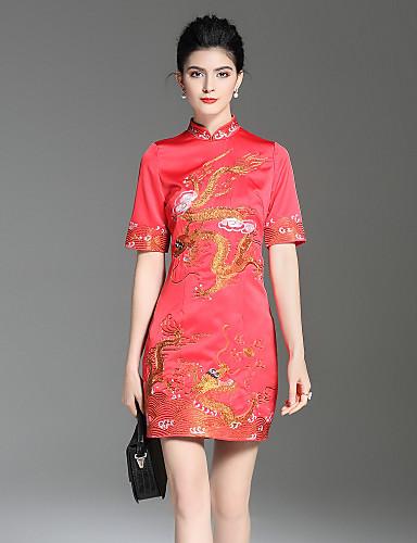 עומד פרח, פרחוני - שמלה גזרת A נדן סגנון סיני בגדי ריקוד נשים
