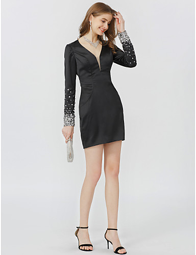 Szűk szabású V-alakú Rövid / mini Farmer Koktélparty Ruha val vel Gyöngydíszítés Pántlika / szalag által TS Couture®