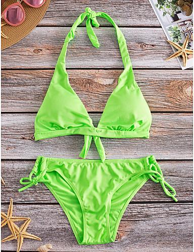 povoljno Ženske majice-Žene Jednobojno Na vezanje oko vrata Fuksija Zelen Plava Bikini Kupaći kostimi - Jednobojni M L XL Fuksija / Push-up / Podstavljeni grudnjak / Prilagodljivo