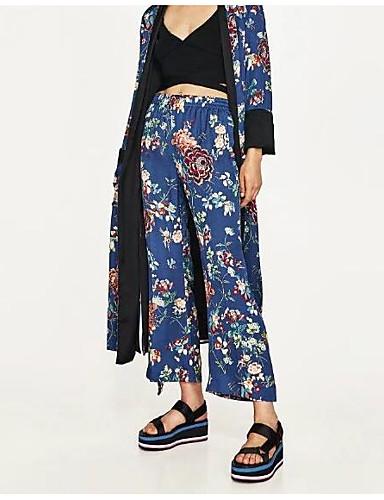 מכנסיים דפוס רגל רחבה פשוט בגדי ריקוד נשים