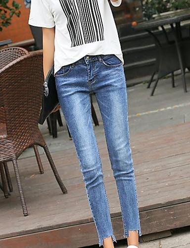 בגדי ריקוד נשים כותנה ג'ינסים מכנסיים - גיזרה גבוהה אחיד / סתיו