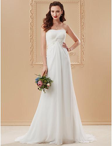9e36a853e play video. cheap Wedding Dresses-Sheath / Column Strapless Sweep / Brush Train  Chiffon ...