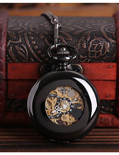 לזוג שעוני שלד שעון כיס קווארץ חריתה חלולה שעונים יום יומיים סגסוגת להקה אנלוגי פאר יום יומי גולגולת שחור - שחור