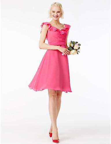 bb4401671a915 A-Line Square Neck Short   Mini Chiffon Bridesmaid Dress with Sash   Ribbon    Ruffles   Pleats by LAN TING BRIDE®   Petal Sleeve