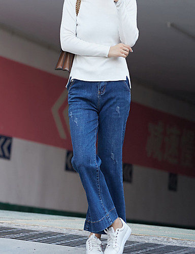 בגדי ריקוד נשים כותנה רגל רחבה / ג'ינסים מכנסיים - גיזרה גבוהה אחיד / סתיו