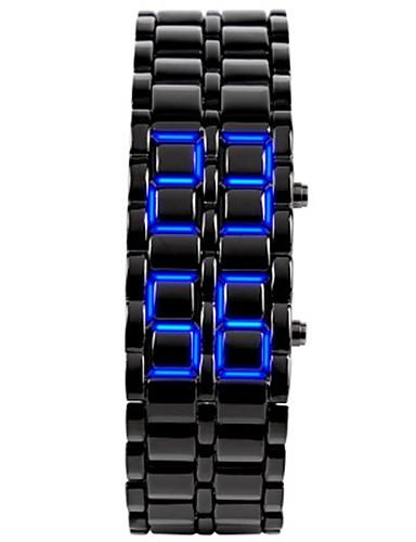 SKMEI לזוג שעוני ספורט אוטומטי נמתח לבד 30 m עמיד במים לוח שנה מד צעדים סגסוגת להקה דיגיטלי פאר יום יומי אופנתי שחור / כסף - שחור / כחול כסוף / כחול כסוף / אדום