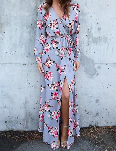 voordelige Maxi-jurken-Dames Feest Schede Jurk - Geometrisch, Bloemen Stijl V-hals Maxi