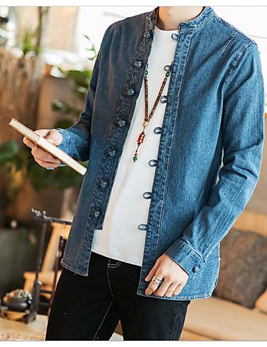 אחיד סגנון סיני כותנה, חולצה - בגדי ריקוד גברים / שרוול ארוך