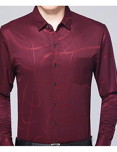 פרחוני כותנה, חולצה - בגדי ריקוד גברים / שרוול ארוך