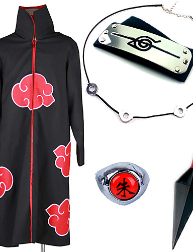 cheap Sale-Inspired by Naruto Akatsuki / Itachi Uchiha Anime Cosplay Costumes Cosplay Suits / Cosplay Accessories Anime Cloak / Necklace / Headband For Men's / Women's