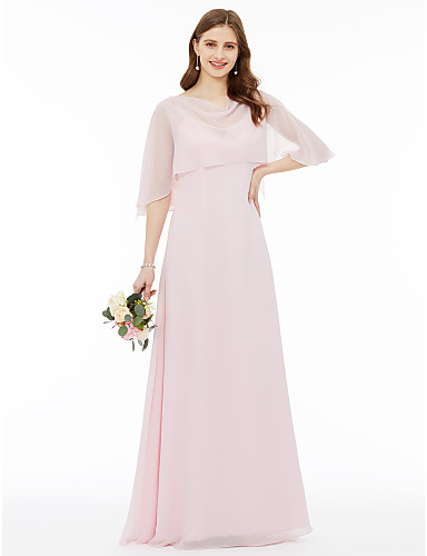eb02fef8f9 A-Line Cowl Neck Floor Length Chiffon Bridesmaid Dress with Pleats by LAN  TING BRIDE®