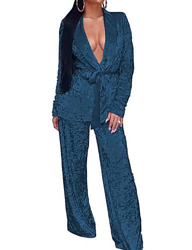 abordables Hauts pour Femmes-Femme Velours Set - Couleur Pleine Taille haute Pantalon Col en V / Printemps / Automne