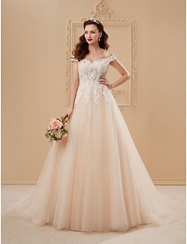salón hombros caídos capilla tul sobre encaje vestidos de novia