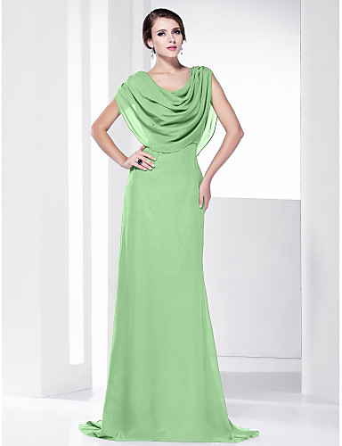 7d46b452c عامودي رقبة درابيه ذيل مثل الفرشاة شيفون حفلة رسمية فستان مع ثنيات بواسطة  TS Couture®