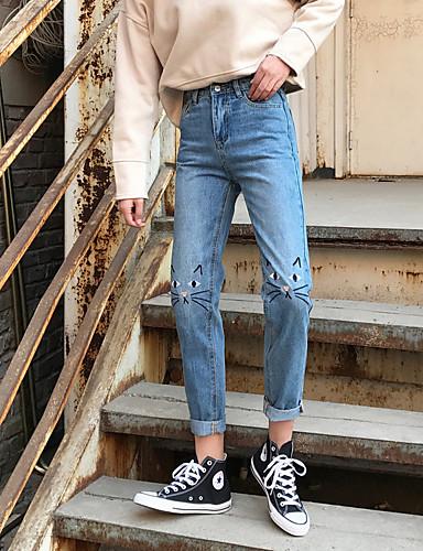 בגדי ריקוד נשים כותנה ג'ינסים מכנסיים אחיד / סתיו