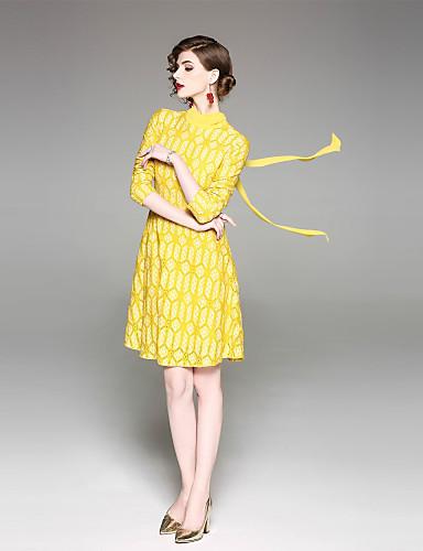עומד קולור בלוק - שמלה גזרת A נדן בגדי ריקוד נשים
