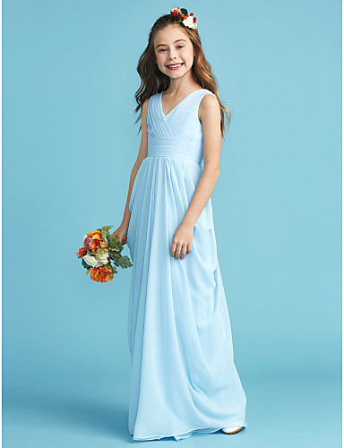 50336a884559 A-Line / Princess V Neck Floor Length Chiffon Junior Bridesmaid Dress with  Sash / Ribbon / Criss Cross / Pleats by LAN TING BRIDE® #06468555