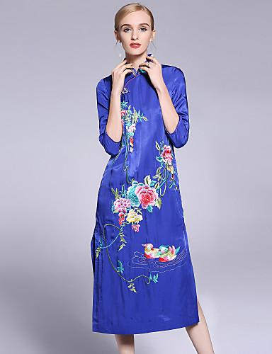עומד פרח, פרחוני - שמלה נדן סגנון סיני בגדי ריקוד נשים