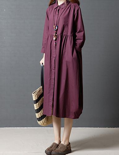 abordables Robes Femme-Femme Sortie Midi Ample Chemise Robe - Plissé, Couleur Pleine Col de Chemise Printemps Noir Violet L XL XXL Coton Manches Longues