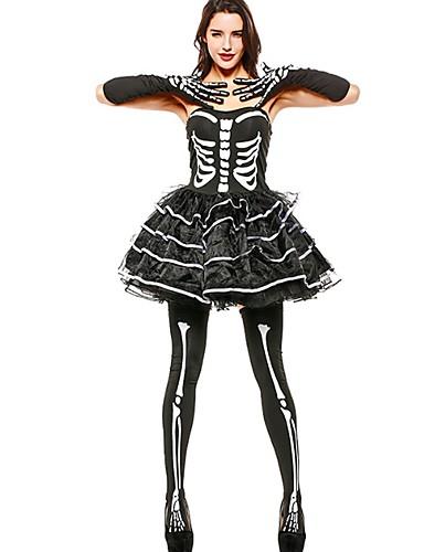 billige Halloween- og karnevalkostymer-Skjelett / Kranium Engel & Demon Dame Tutuer Festival / høytid Drakter Svart Lapper Tøffe hodeskaller
