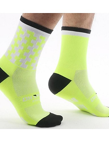 cheap Compression Clothing-Compression Socks Sport Socks / Athletic Socks Cycling Socks Men's Women's Bike / Cycling Lightweight Anatomic Design Breathability 1 Pair Letter & Number Nylon Pink Green / Yellow Royal Blue L-XL