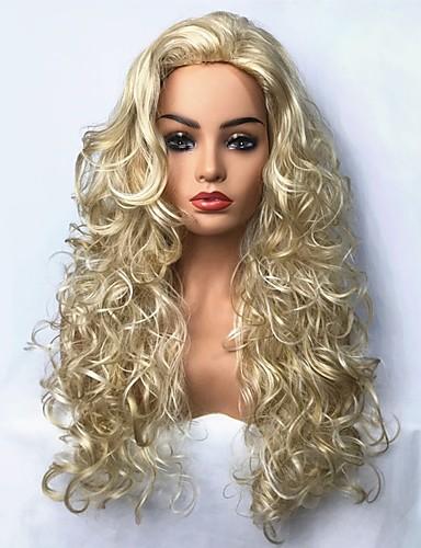 ราคาถูก Beauty & Hair-วิกผมสังเคราะห์ ความหงิก สไตล์ ไม่มีฝาครอบ ผมปลอม บลอนด์ สีบลอนด์ สังเคราะห์ บลอนด์ วิก ยาว StrongBeauty คอสเพลย์วิกผม