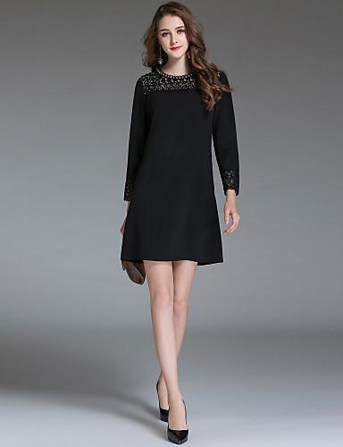 d33f8980f2 Damskie Wyjściowe Moda miejska Linia A   Pochwa   Mała czarna Sukienka -  Jendolity kolor