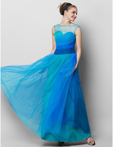 A-Line Illusion Neckline Ankle Length Tulle Prom / Formal Evening Dress with Side Draping by TS Couture®