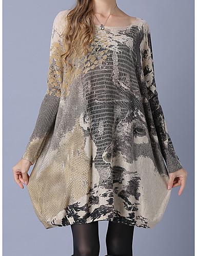 גיאומטרי - סוודר שרוול ארוך שרוול עטלף ליציאה בגדי ריקוד נשים