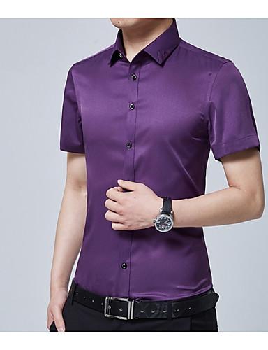 צבע אחיד רזה חולצה - בגדי ריקוד גברים צבע טהור / קיץ
