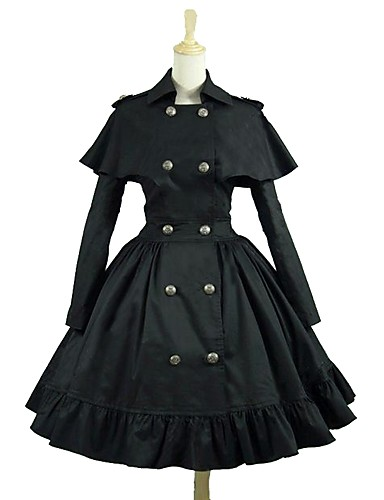 Punk Lolita Dress Rococo Women s Dress Cosplay Black Long Sleeve Knee  Length Costumes 0950296ddda8