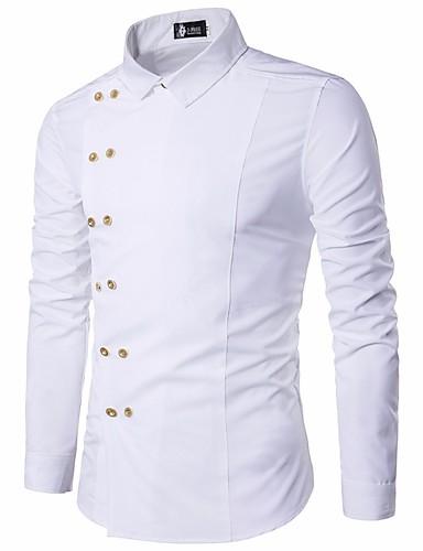 אחיד צווארון קלאסי רזה סגנון סיני כותנה, חולצה - בגדי ריקוד גברים בסיסי / שרוול ארוך