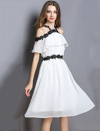 3b3a5b58feea Women s Party Beach Boho Slim Chiffon Swing Dress - Color Block Embroidered Off  Shoulder Summer White L XL XXL   Sexy
