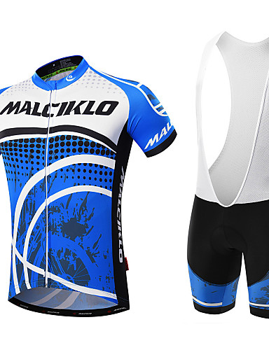 cheap Cycling Clothing-Malciklo Men's Short Sleeve Cycling Jersey with Bib Shorts Black Blue / White Dots Bike Clothing Suit Breathable 3D Pad Quick Dry Back Pocket Sports Coolmax® Lycra Dots Mountain Bike MTB Road Bike