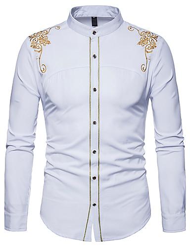 abordables Camisas de Hombre-Hombre Trabajo Básico Camisa, Cuello Mao Delgado Floral Negro L / Manga Larga / Primavera