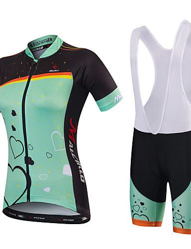 cheap Cycling Clothing-Malciklo Women's Short Sleeve Cycling Jersey with Shorts - Mint Green Green / Black Bike Jersey Bib Tights Padded Shorts / Chamois Breathable Quick Dry Anatomic Design Ultraviolet Resistant / Spandex