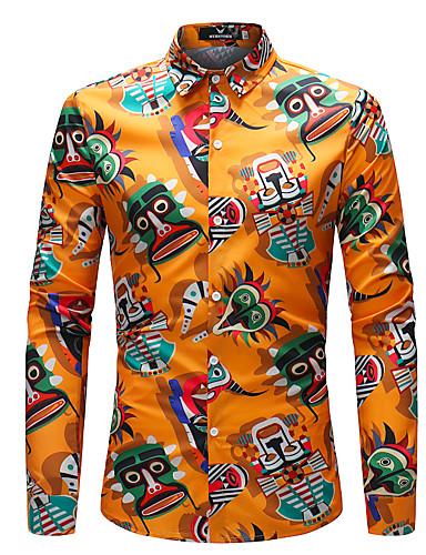 voordelige Herenoverhemden-Heren Boho Overhemd Regenboog Regenboog / Lange mouw