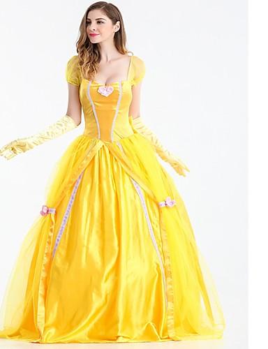 billige Cosplay og kostumer-Prinsesse Skak Belle Cosplay Kostumer Maskerade Dame Halloween Festival / Højtider Satin / tyl Gul Karneval Kostume Ensfarvet