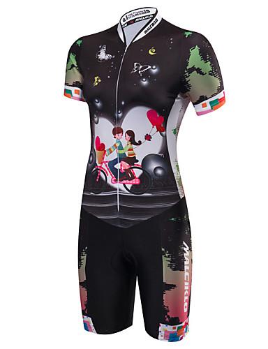 cheap Cycling Clothing-Malciklo Women's Short Sleeve Triathlon Tri Suit - Black Cartoon Bike Breathable Anatomic Design Reflective Strips Sweat-wicking Sports Polyester Spandex Coolmax® Cartoon Triathlon Clothing Apparel