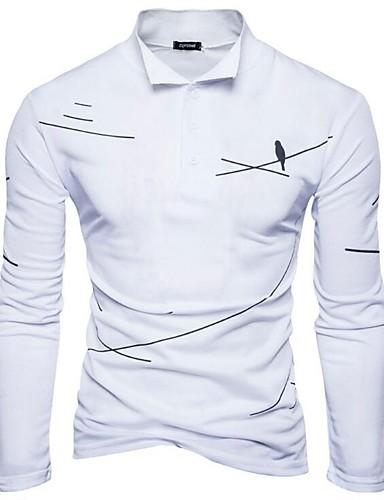 חיה צווארון חולצה סגנון סיני כותנה, טישרט - בגדי ריקוד גברים / אנא בחר\י מידה אחת גדולה יותר מהמידה הנורמלית שלך. / שרוול ארוך