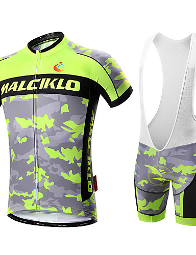adbdd1c01 Malciklo Men s Short Sleeve Cycling Jersey with Bib Shorts - White Black  Camo   Camouflage Bike Clothing Suit Breathable 3D Pad Quick Dry Back  Pocket Sports ...