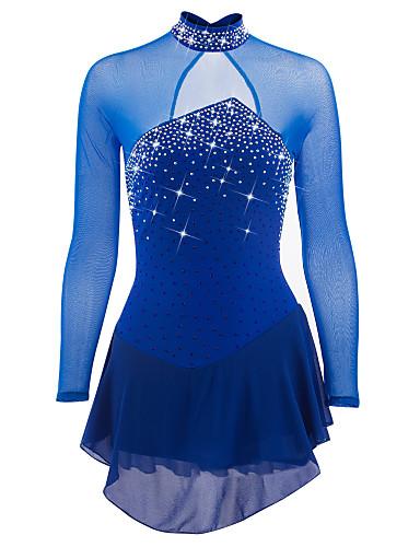 Vestidos para Patinação Artística Mulheres Para Meninas Patinação no Gelo Vestidos Azul Escuro Verde Azulado Elastano Pedrarias