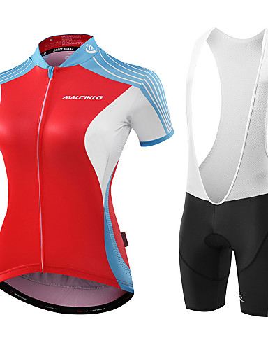 cheap Cycling Clothing-Malciklo Women's Short Sleeve Cycling Jersey with Bib Shorts - Red / White Black / Red Geometic Leaf Bike Jersey Bib Tights Padded Shorts / Chamois Breathable Anatomic Design Reflective Strips